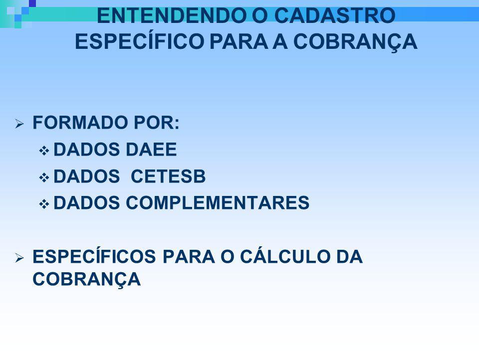 FORMADO POR: DADOS DAEE DADOS CETESB DADOS COMPLEMENTARES ESPECÍFICOS PARA O CÁLCULO DA COBRANÇA ENTENDENDO O CADASTRO ESPECÍFICO PARA A COBRANÇA