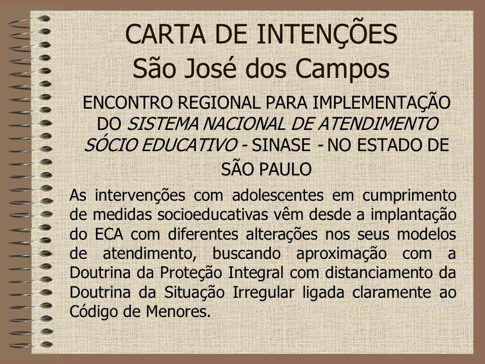 CARTA DE INTENÇÕES São José dos Campos ENCONTRO REGIONAL PARA IMPLEMENTAÇÃO DO SISTEMA NACIONAL DE ATENDIMENTO SÓCIO EDUCATIVO - SINASE - NO ESTADO DE