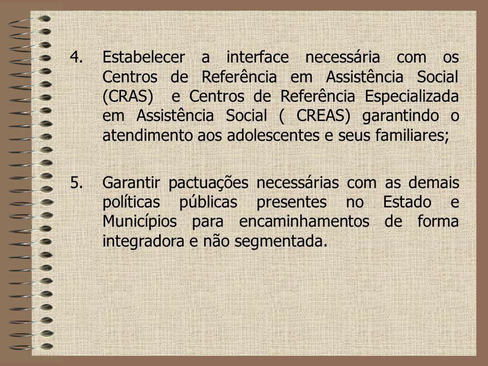 4.Estabelecer a interface necessária com os Centros de Referência em Assistência Social (CRAS) e Centros de Referência Especializada em Assistência So