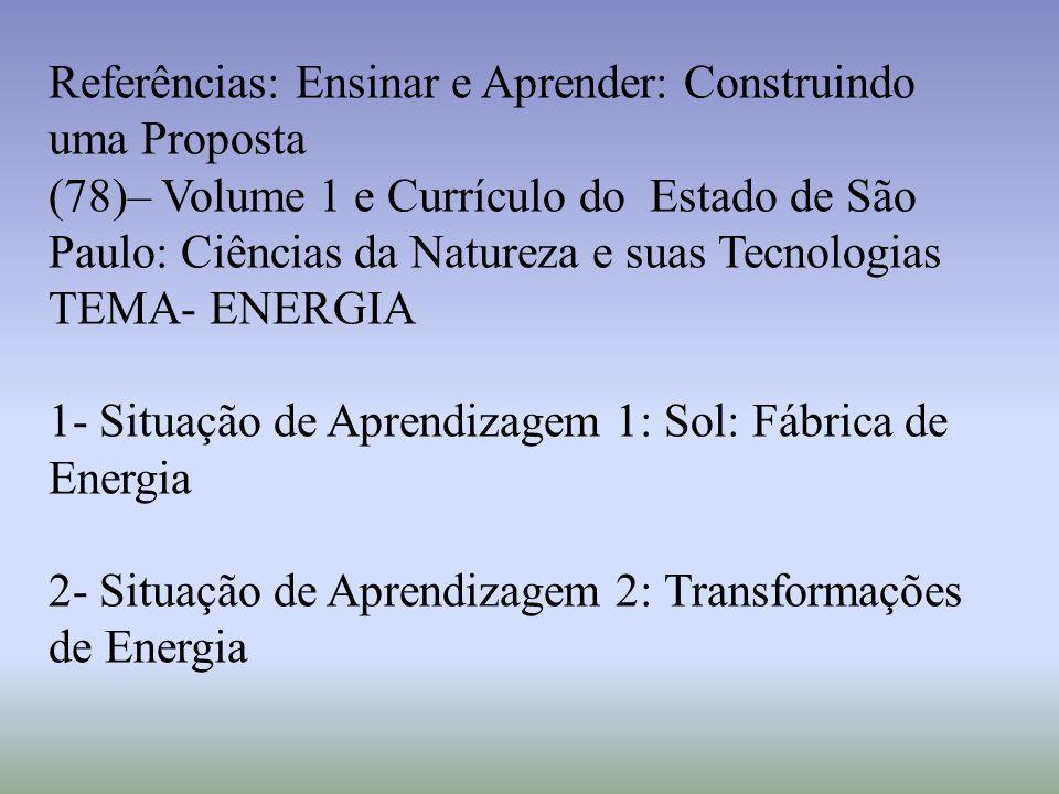 Referências: Ensinar e Aprender: Construindo uma Proposta (78)– Volume 1 e Currículo do Estado de São Paulo: Ciências da Natureza e suas Tecnologias T