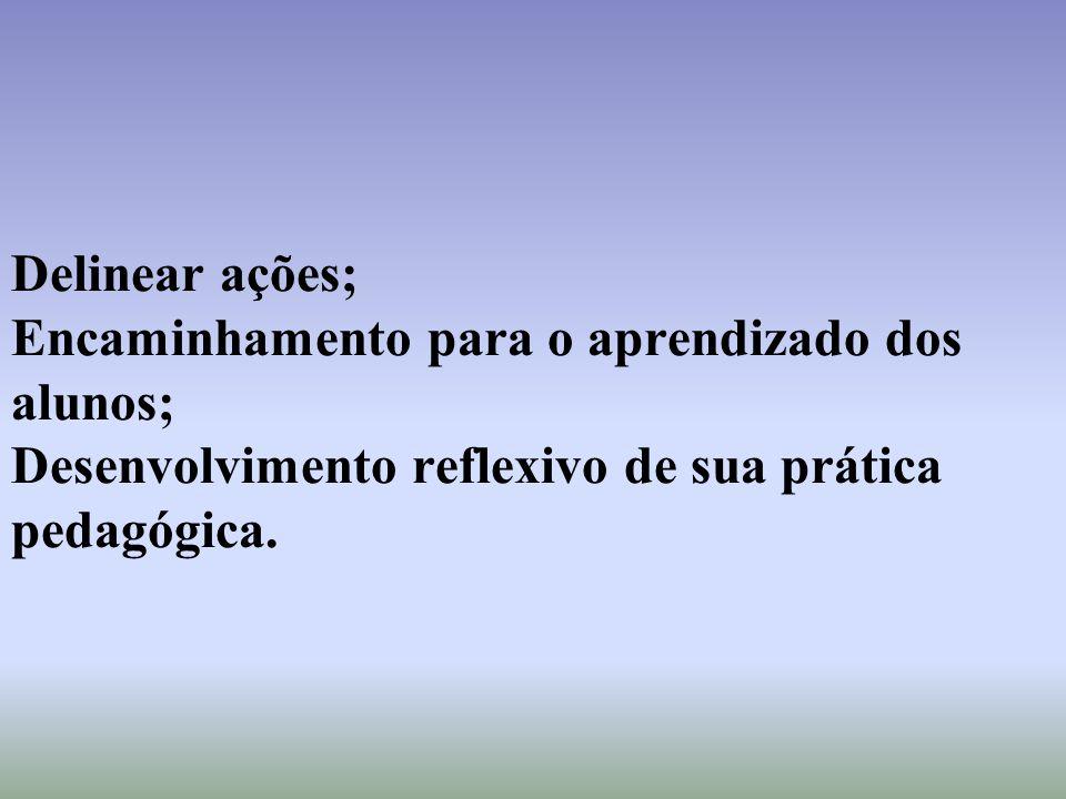 Delinear ações; Encaminhamento para o aprendizado dos alunos; Desenvolvimento reflexivo de sua prática pedagógica.