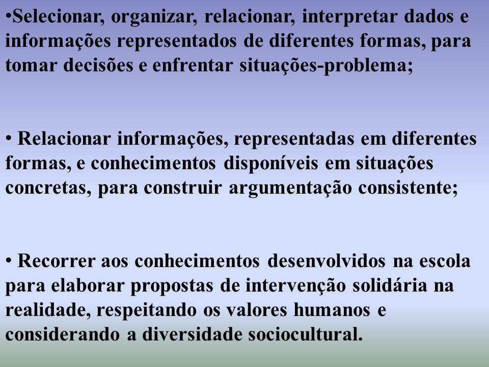 Selecionar, organizar, relacionar, interpretar dados e informações representados de diferentes formas, para tomar decisões e enfrentar situações-probl