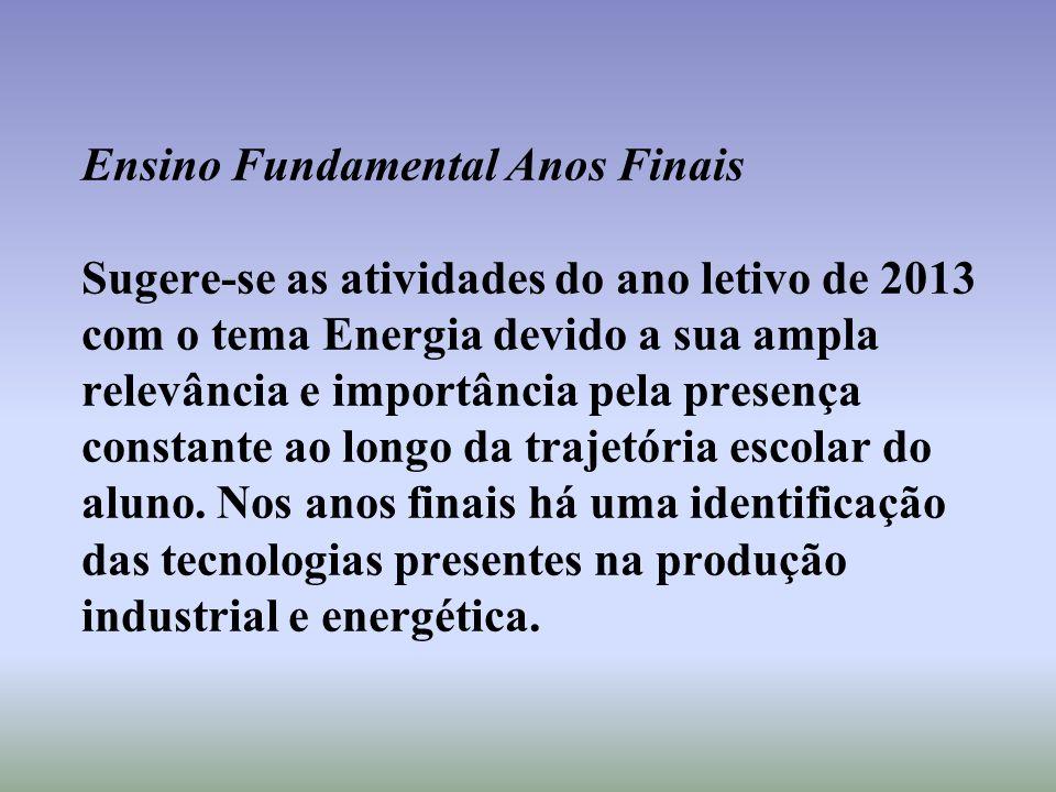 Ensino Fundamental Anos Finais Sugere-se as atividades do ano letivo de 2013 com o tema Energia devido a sua ampla relevância e importância pela prese