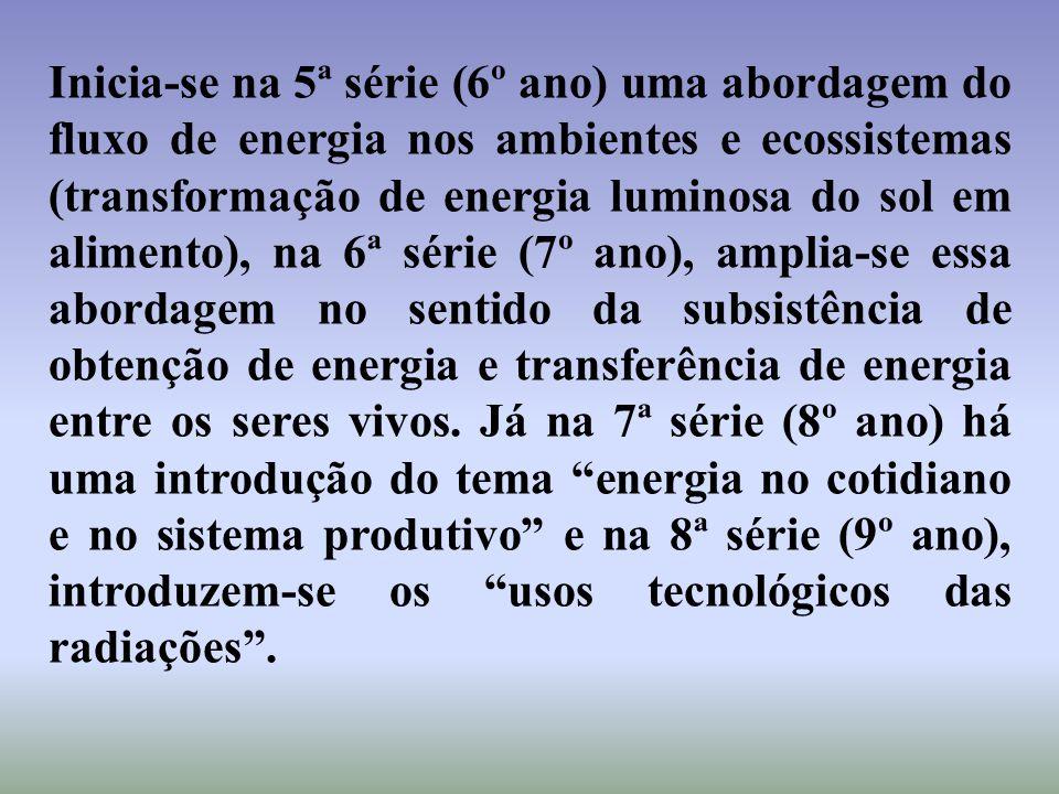 Inicia-se na 5ª série (6º ano) uma abordagem do fluxo de energia nos ambientes e ecossistemas (transformação de energia luminosa do sol em alimento),