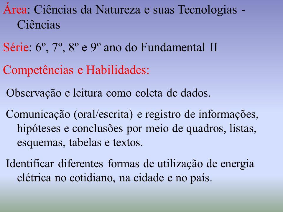 Área: Ciências da Natureza e suas Tecnologias - Ciências Série: 6º, 7º, 8º e 9º ano do Fundamental II Competências e Habilidades: Observação e leitura