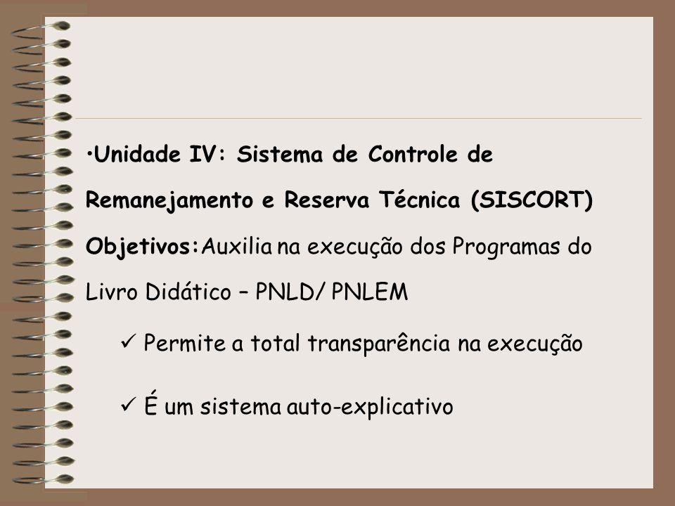 Unidade IV: Sistema de Controle de Remanejamento e Reserva Técnica (SISCORT) Objetivos:Auxilia na execução dos Programas do Livro Didático – PNLD/ PNL