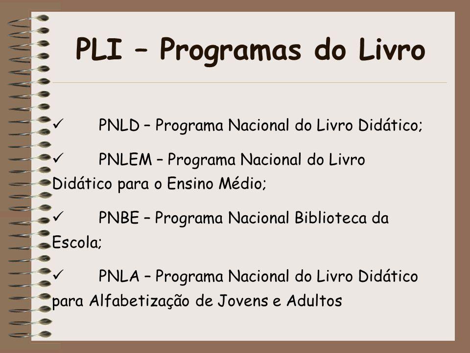 PLI – Programas do Livro PNLD – Programa Nacional do Livro Didático; PNLEM – Programa Nacional do Livro Didático para o Ensino Médio; PNBE – Programa