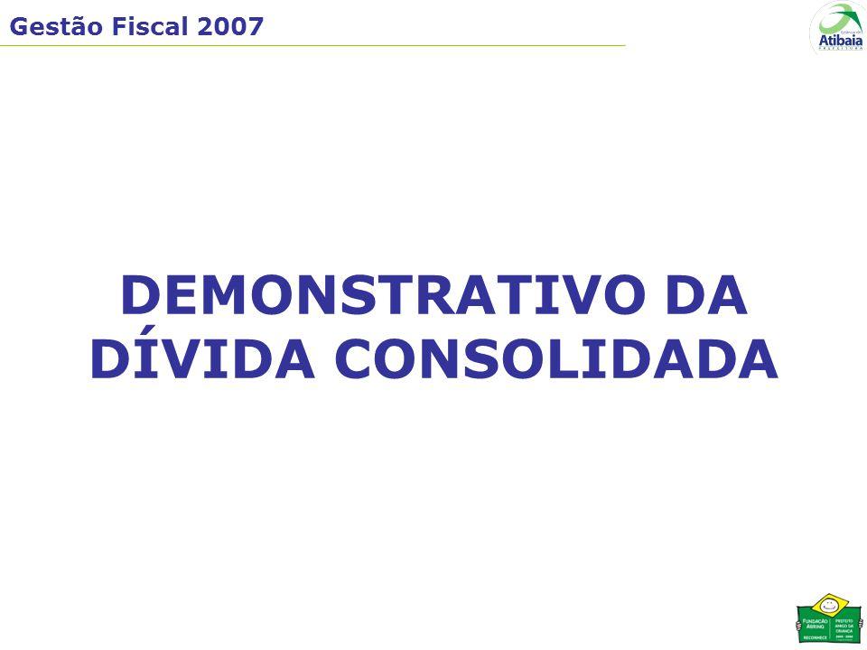 Gestão Fiscal 2007 DEMONSTRATIVO DA DÍVIDA CONSOLIDADA