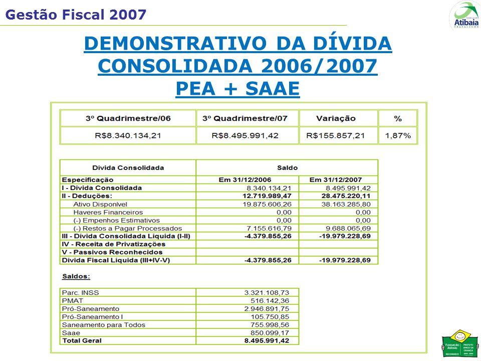 Gestão Fiscal 2007 DEMONSTRATIVO DA DÍVIDA CONSOLIDADA 2006/2007 PEA + SAAE