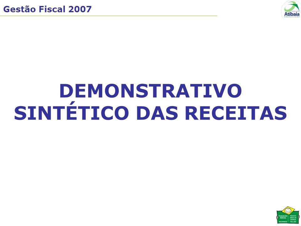 Gestão Fiscal 2007 DEMONSTRATIVO SINTÉTICO DAS RECEITAS