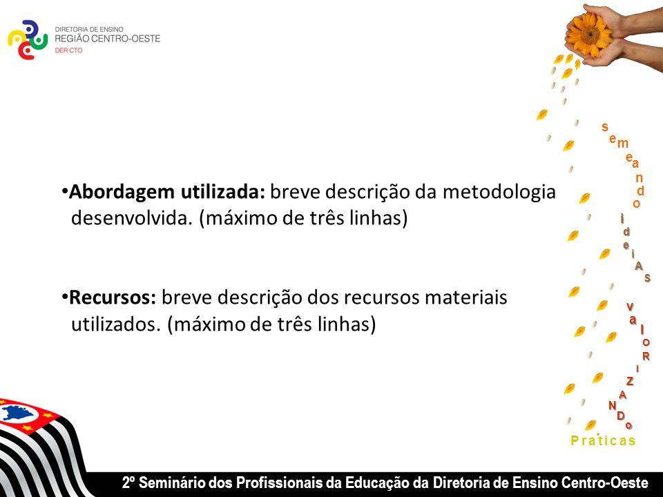 2º Seminário dos Profissionais da Educação da Diretoria de Ensino Centro-Oeste Praticas Abordagem utilizada: breve descrição da metodologia desenvolvida.