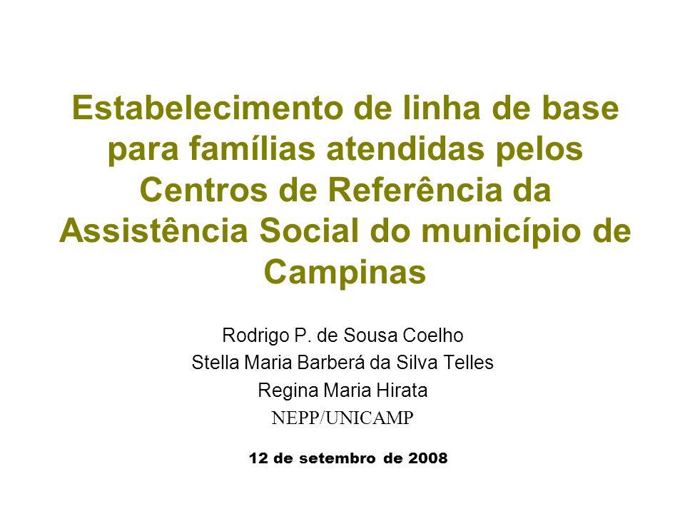 Estabelecimento de linha de base para famílias atendidas pelos Centros de Referência da Assistência Social do município de Campinas Rodrigo P. de Sous
