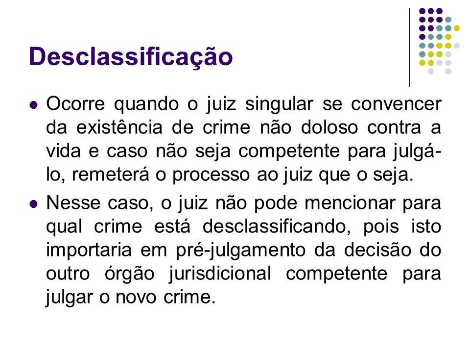 Desclassificação Ocorre quando o juiz singular se convencer da existência de crime não doloso contra a vida e caso não seja competente para julgá- lo,