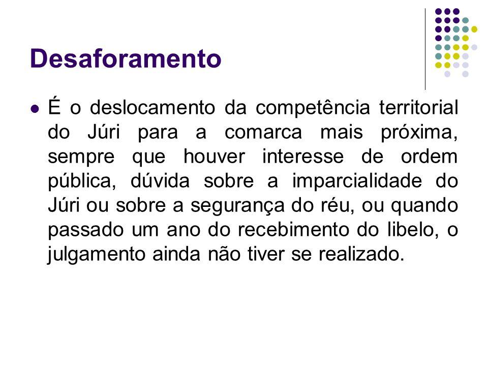 Desaforamento É o deslocamento da competência territorial do Júri para a comarca mais próxima, sempre que houver interesse de ordem pública, dúvida so