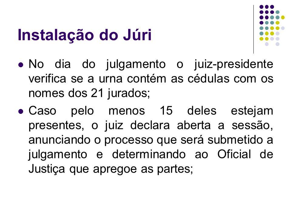 Instalação do Júri No dia do julgamento o juiz-presidente verifica se a urna contém as cédulas com os nomes dos 21 jurados; Caso pelo menos 15 deles e
