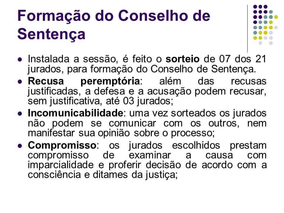 Formação do Conselho de Sentença Instalada a sessão, é feito o sorteio de 07 dos 21 jurados, para formação do Conselho de Sentença. Recusa peremptória