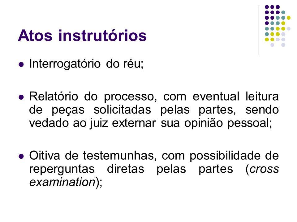 Atos instrutórios Interrogatório do réu; Relatório do processo, com eventual leitura de peças solicitadas pelas partes, sendo vedado ao juiz externar