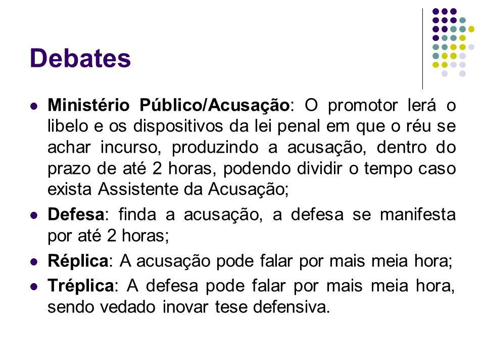 Debates Ministério Público/Acusação: O promotor lerá o libelo e os dispositivos da lei penal em que o réu se achar incurso, produzindo a acusação, den