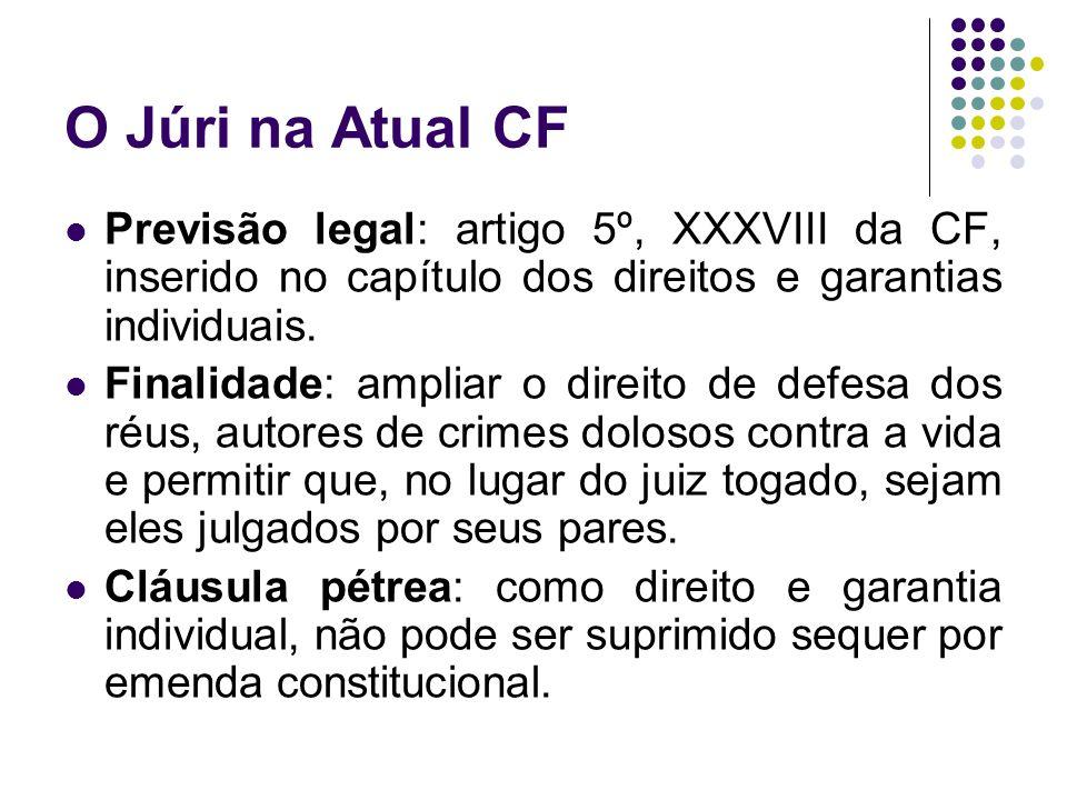 O Júri na Atual CF Previsão legal: artigo 5º, XXXVIII da CF, inserido no capítulo dos direitos e garantias individuais. Finalidade: ampliar o direito