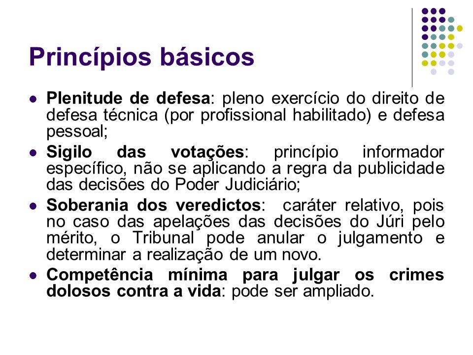 Princípios básicos Plenitude de defesa: pleno exercício do direito de defesa técnica (por profissional habilitado) e defesa pessoal; Sigilo das votaçõ