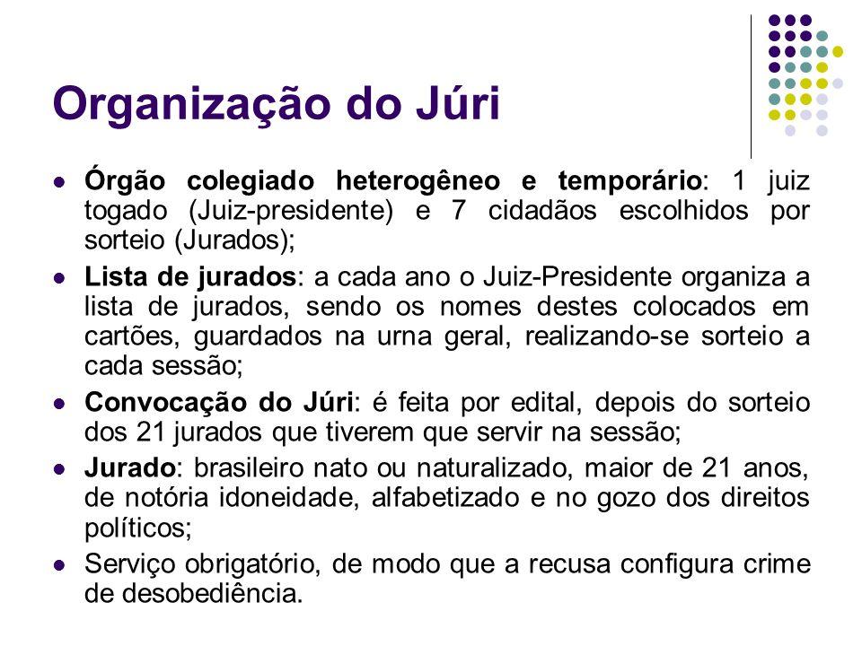 Organização do Júri Órgão colegiado heterogêneo e temporário: 1 juiz togado (Juiz-presidente) e 7 cidadãos escolhidos por sorteio (Jurados); Lista de