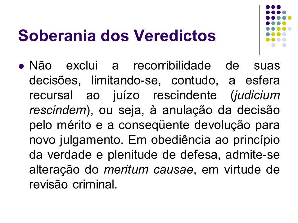 Soberania dos Veredictos Não exclui a recorribilidade de suas decisões, limitando-se, contudo, a esfera recursal ao juízo rescindente (judicium rescin