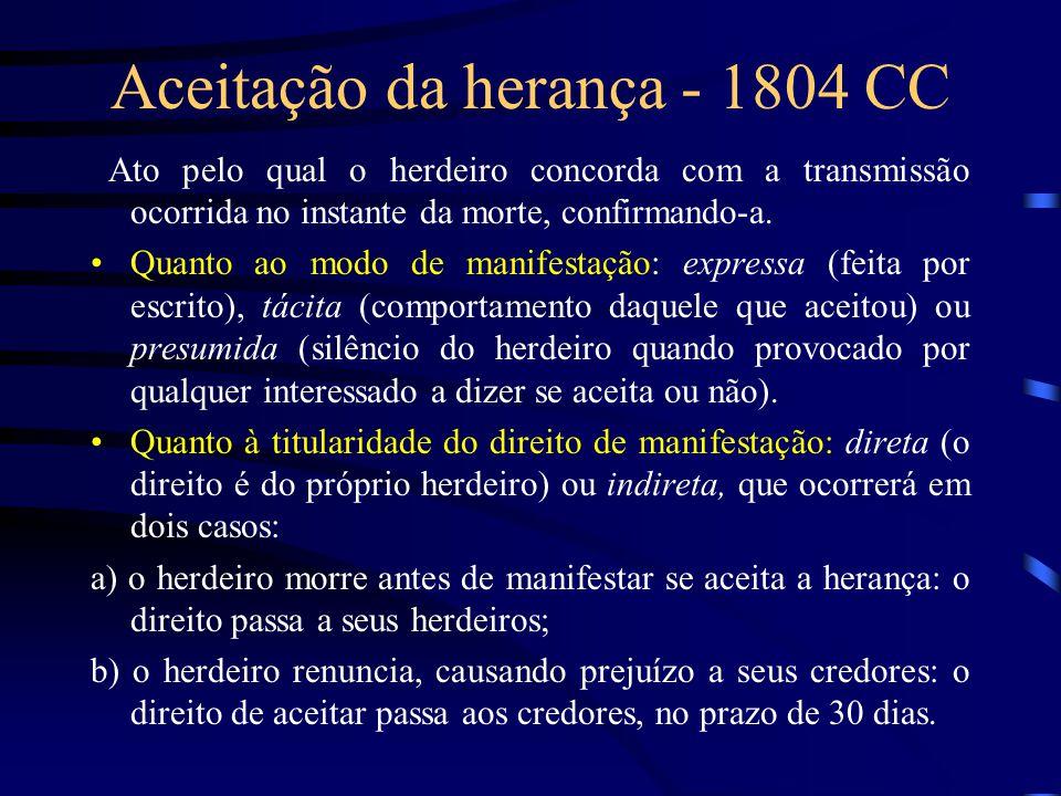 Aceitação da herança - 1804 CC Ato pelo qual o herdeiro concorda com a transmissão ocorrida no instante da morte, confirmando-a. Quanto ao modo de man