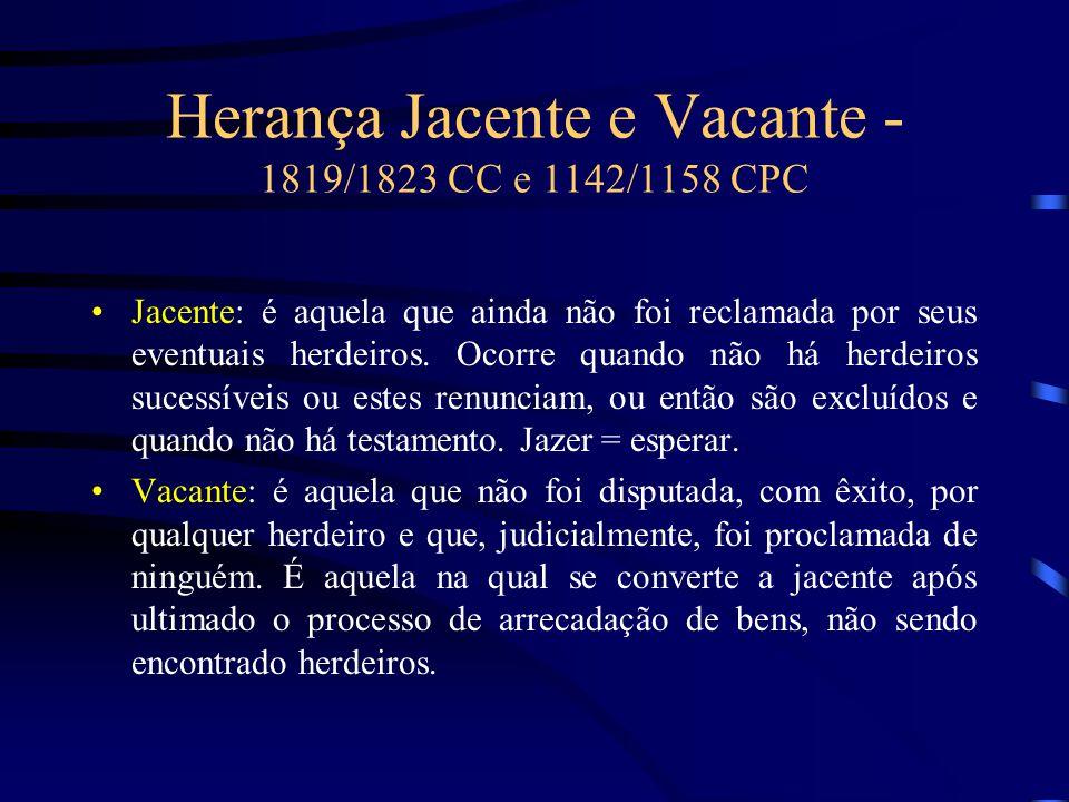 Herança Jacente e Vacante - 1819/1823 CC e 1142/1158 CPC Jacente: é aquela que ainda não foi reclamada por seus eventuais herdeiros. Ocorre quando não