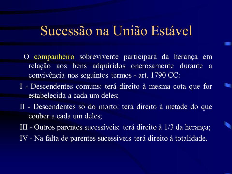 Sucessão na União Estável O companheiro sobrevivente participará da herança em relação aos bens adquiridos onerosamente durante a convivência nos segu