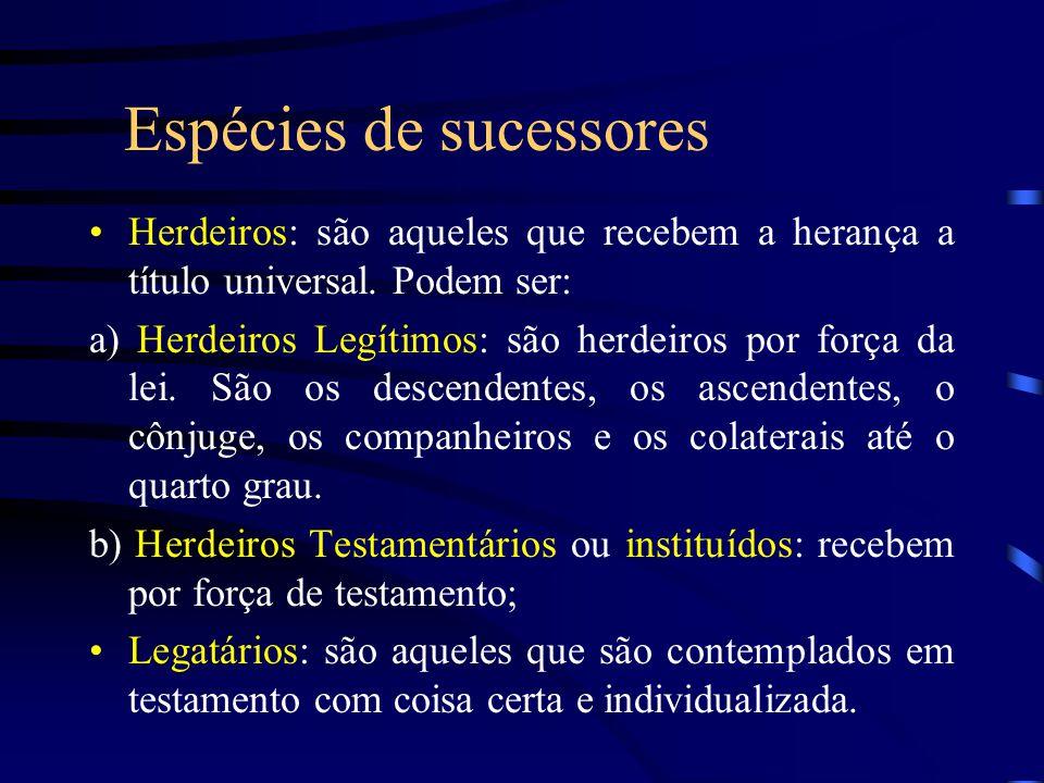 Espécies de sucessores Herdeiros: são aqueles que recebem a herança a título universal. Podem ser: a) Herdeiros Legítimos: são herdeiros por força da