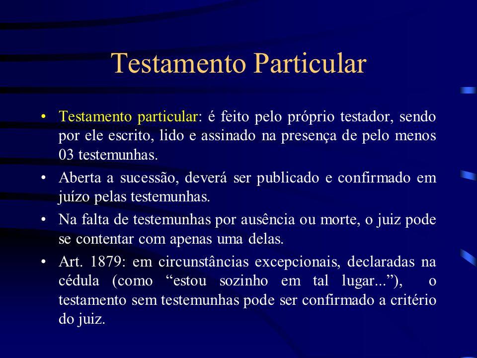 Testamento Particular Testamento particular: é feito pelo próprio testador, sendo por ele escrito, lido e assinado na presença de pelo menos 03 testem