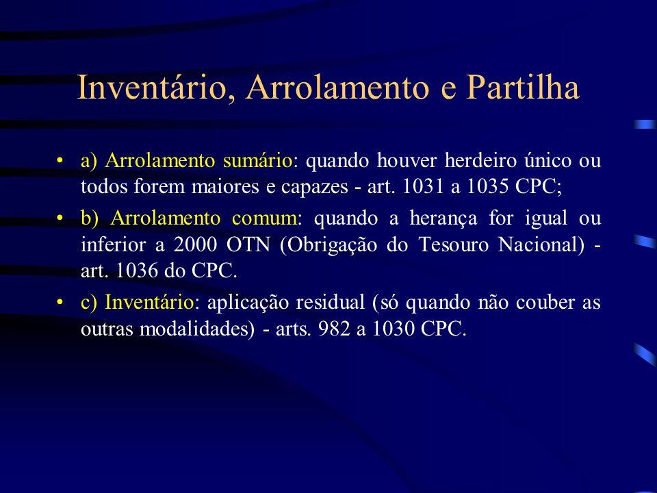 Inventário, Arrolamento e Partilha a) Arrolamento sumário: quando houver herdeiro único ou todos forem maiores e capazes - art. 1031 a 1035 CPC; b) Ar