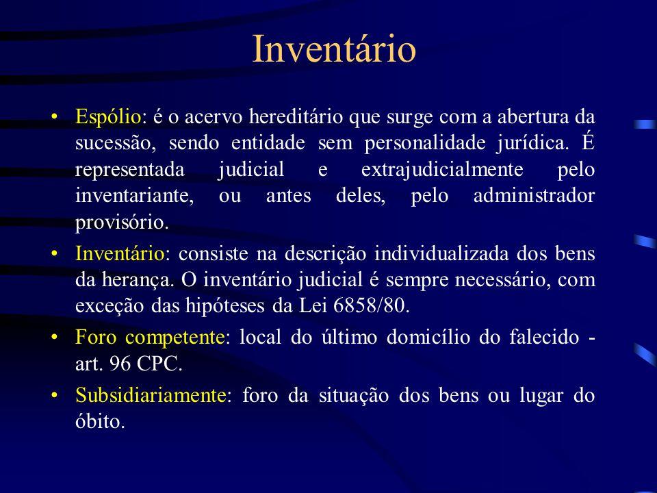 Inventário Espólio: é o acervo hereditário que surge com a abertura da sucessão, sendo entidade sem personalidade jurídica. É representada judicial e