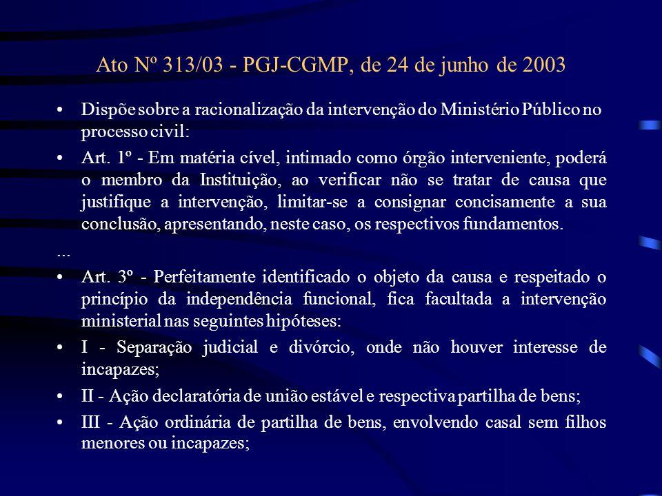Ato Nº 313/03 - PGJ-CGMP, de 24 de junho de 2003 Dispõe sobre a racionalização da intervenção do Ministério Público no processo civil: Art. 1º - Em ma