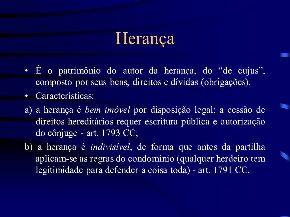 Herança É o patrimônio do autor da herança, do de cujus, composto por seus bens, direitos e dívidas (obrigações). Características: a) a herança é bem