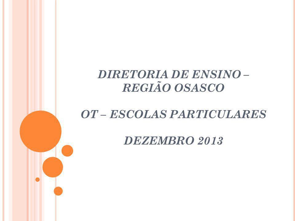 DIRETORIA DE ENSINO – REGIÃO OSASCO OT – ESCOLAS PARTICULARES DEZEMBRO 2013