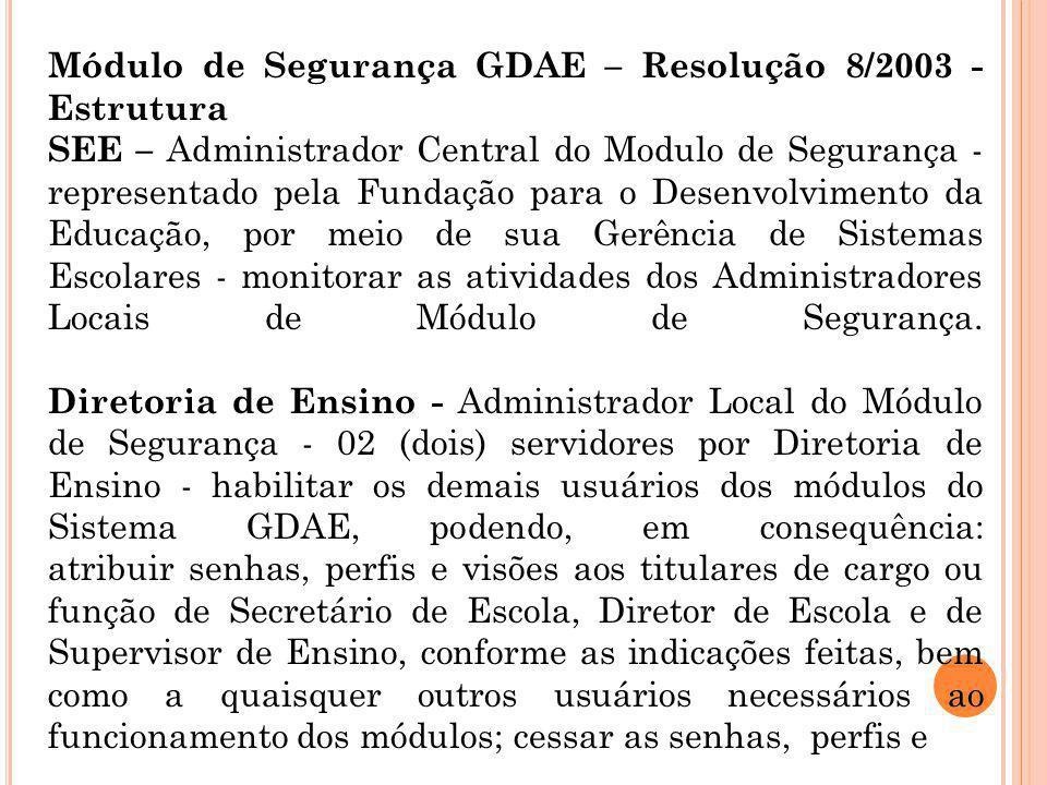 Módulo de Segurança GDAE – Resolução 8/2003 - Estrutura SEE – Administrador Central do Modulo de Segurança - representado pela Fundação para o Desenvo