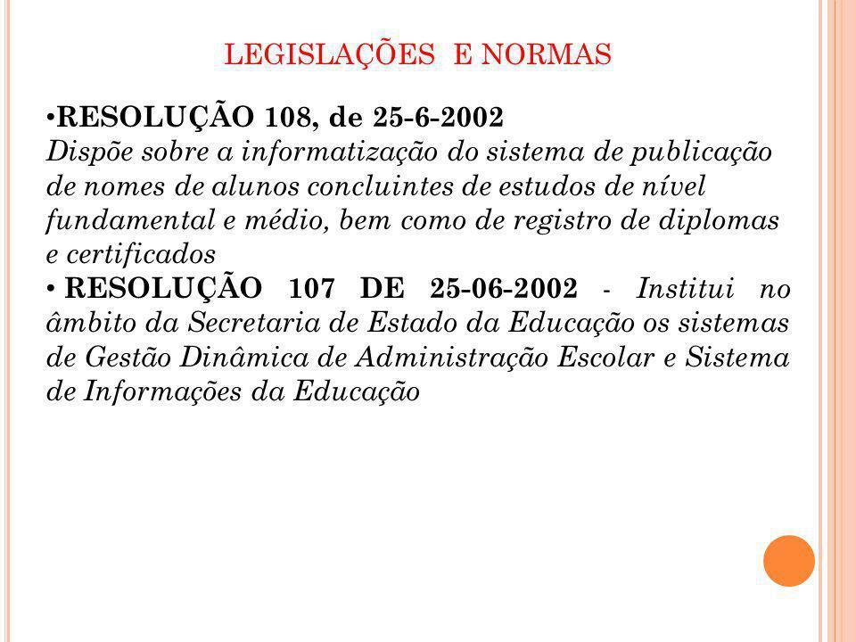 LEGISLAÇÕES E NORMAS RESOLUÇÃO 108, de 25-6-2002 Dispõe sobre a informatização do sistema de publicação de nomes de alunos concluintes de estudos de n