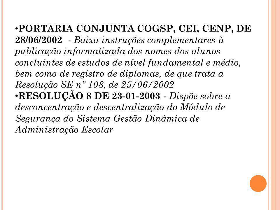 Portaria Conjunta COGSP/CEI/GVCA, de 19-3-2003 Os Coordenadores das Coordenadorias de Ensino da Região Metropolitana da Grande São Paulo e do Interior e o Dirigente do Grupo de Verificação de Atividades Escolares, considerando: os desdobramentos decorrentes da implantação do sistema de publicação informatizada dos nomes de alunos concluintes de estudos de educação básica; a necessidade de dirimir dúvidas relativas à expedição de documentos certificadores de conclusão de cursos de nível fundamental, médio e educação profissional, de alunos cuja trajetória escolar tenha sido objeto de regularização de vida escolar,