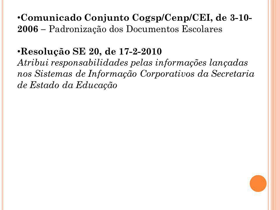 Comunicado Conjunto Cogsp/Cenp/CEI, de 3-10- 2006 – Padronização dos Documentos Escolares Resolução SE 20, de 17-2-2010 Atribui responsabilidades pela