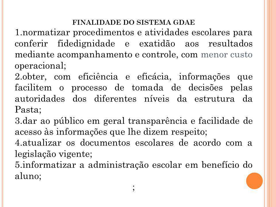 FINALIDADE DO SISTEMA GDAE 1.normatizar procedimentos e atividades escolares para conferir fidedignidade e exatidão aos resultados mediante acompanham