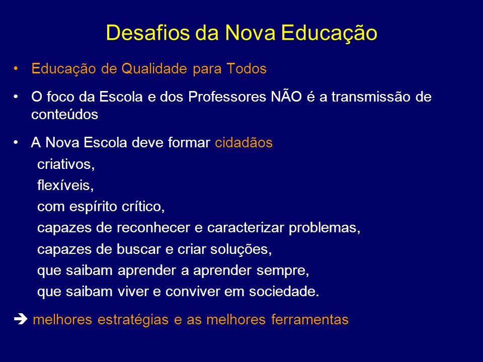 Desafios da Nova Educação Educação de Qualidade para Todos O foco da Escola e dos Professores NÃO é a transmissão de conteúdos A Nova Escola deve form