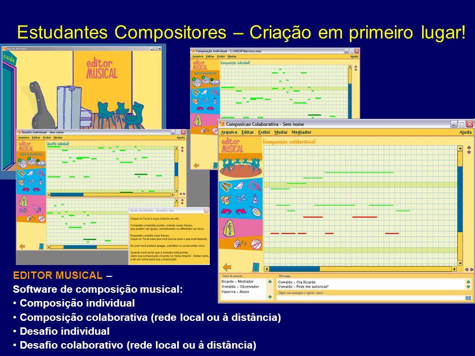 Estudantes Compositores – Criação em primeiro lugar! EDITOR MUSICAL – Software de composição musical: Composição individual Composição colaborativa (r