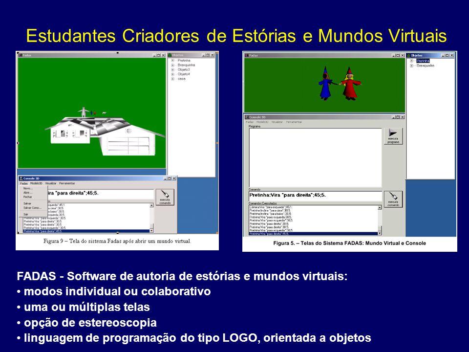 Estudantes Criadores de Estórias e Mundos Virtuais FADAS - Software de autoria de estórias e mundos virtuais: modos individual ou colaborativo uma ou