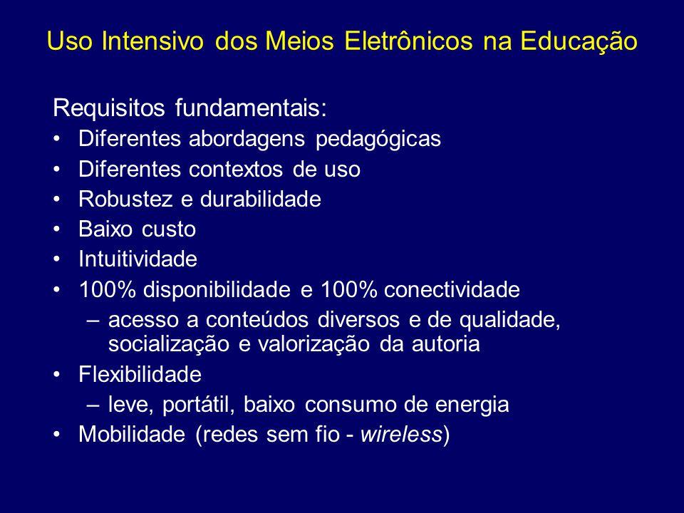 Uso Intensivo dos Meios Eletrônicos na Educação Requisitos fundamentais: Diferentes abordagens pedagógicas Diferentes contextos de uso Robustez e dura