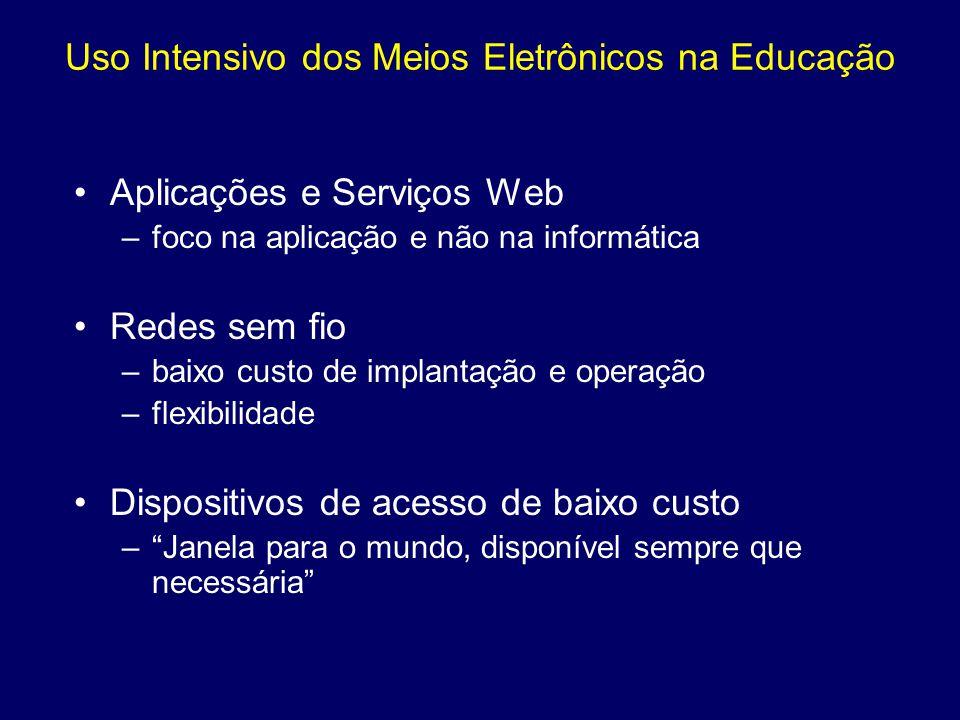 Uso Intensivo dos Meios Eletrônicos na Educação Aplicações e Serviços Web –foco na aplicação e não na informática Redes sem fio –baixo custo de implan