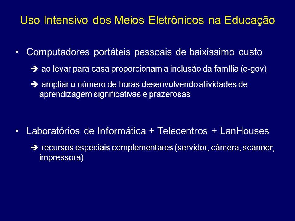 Uso Intensivo dos Meios Eletrônicos na Educação Computadores portáteis pessoais de baixíssimo custo ao levar para casa proporcionam a inclusão da famí