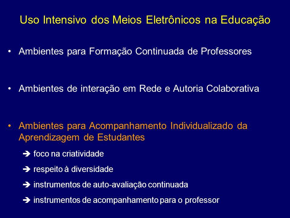Uso Intensivo dos Meios Eletrônicos na Educação Ambientes para Formação Continuada de Professores Ambientes de interação em Rede e Autoria Colaborativ