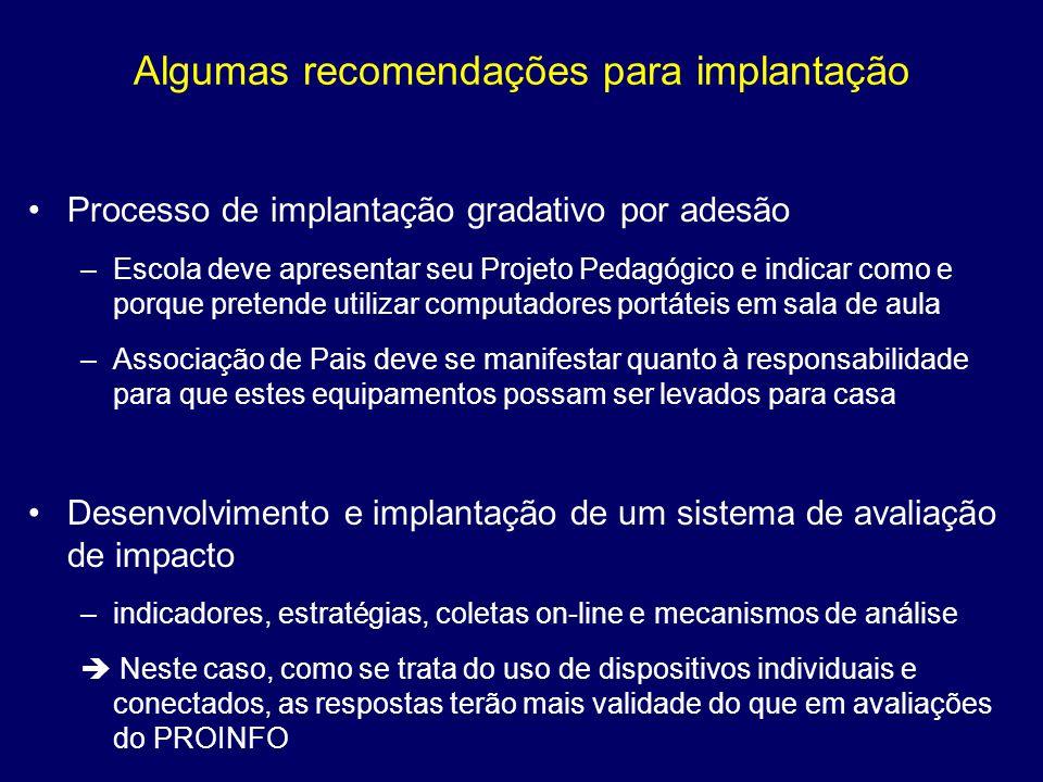 Algumas recomendações para implantação Processo de implantação gradativo por adesão –Escola deve apresentar seu Projeto Pedagógico e indicar como e po