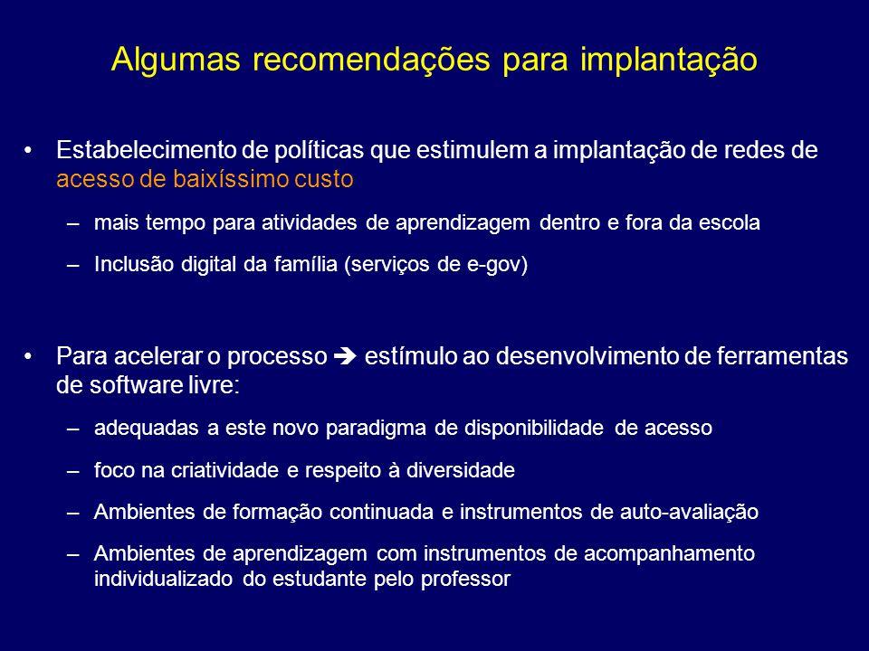 Algumas recomendações para implantação Estabelecimento de políticas que estimulem a implantação de redes de acesso de baixíssimo custo –mais tempo par